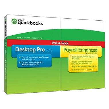 Quickbooks Desktop Pro 2018 Payroll Enhanced Value Pack 1-License [Disk and Download]