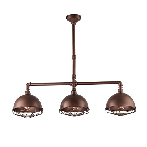HMVPL 3-Lights Hanging Pendant Lighting Fixture, Industrial Metal Dome Cage Oil-Rubbed Bronze Ceiling Lamps Chandelier for Kitchen Island Dining Room Living Room Barn Bars Café Pool ()