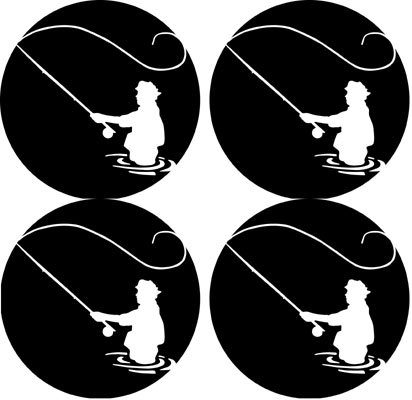 Fly Fishing fisherman Rubber Round Coaster set (4 pack) Great Gift Idea