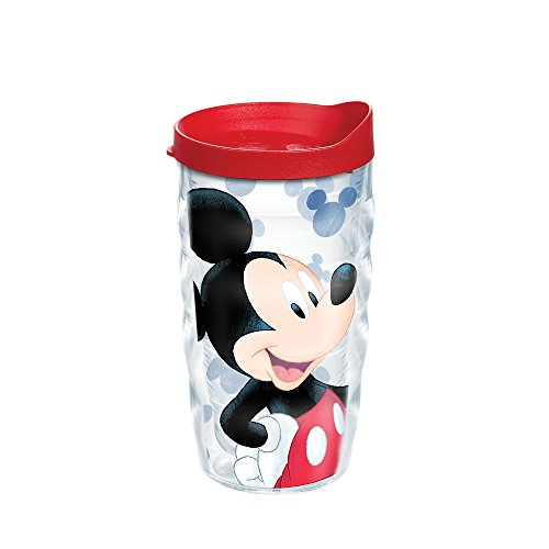 Tervis 1285396 Disney - Mickey Mouse Groovin Mickey Tumbler with Wrap and Red Lid 10oz Wavy, Clear