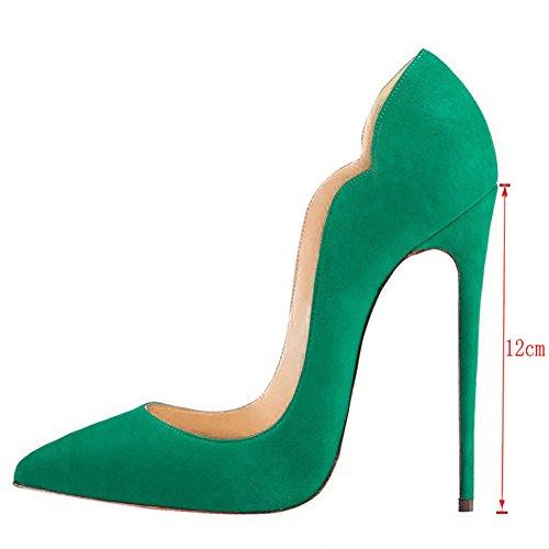 Partei Hochzeit 46 Lackleder Pumps Gradient Damen Faux Green Wildleder Size EKS Kleid Spitze 35 aXSqqY