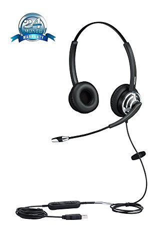 USB Headset for Call Center with Noise Cancelling Microphone For Phone Mac Skype Microsoft Lync With Voice Recognition Mic for Drangon With Volume Controller Mic Mute and Call Button