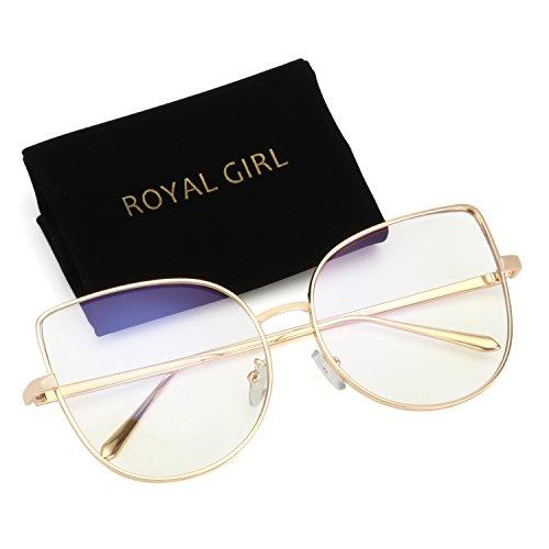 ROYAL GIRL Cat Eye Retro Sunglasses For Women Metal Frames Trendy Glasses (Gold Frame, ()