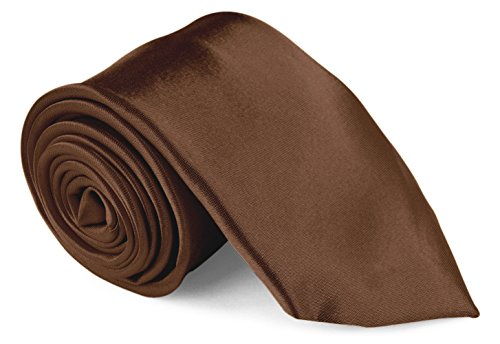 Brown Silk Tie - Moda Di Raza Men's Necktie 3 inch Satin Silk Finish Polyester Men Fashion Ties - Brown
