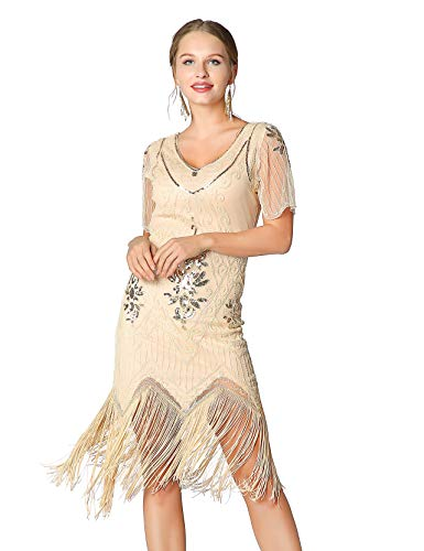 Metme Women's Roaring 1920s Gatsby Dresses Short Sleeve Dress Cocktail Flapper Dress ()