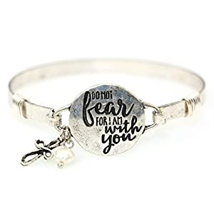 Wonderent Do Not Fear For I am With You Religious Inspirational Vintage Bangle Bracelet with Charm and Bead