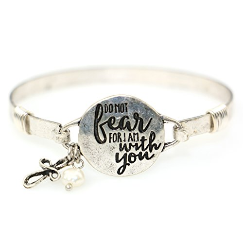 """Do Not Fear For I am With You"" Beautiful Christian Bangle Bracelet with Wire Design and Cross Charm and Bead"