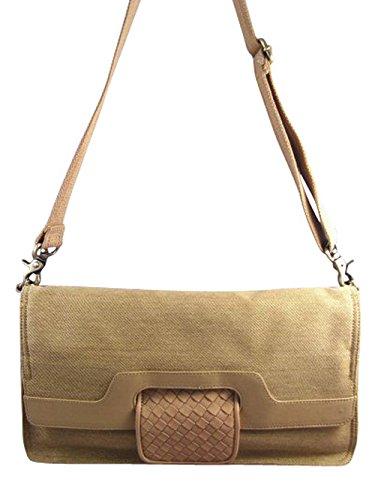 BCBG Convertible Crossbody Clutch Tote Shoulder Bag, Tan