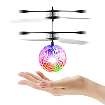 Herefun Flying Ball Helicopter Balle Volante Lumineuse Contr/ôle avec Main Mini Toy Boule Volante H/élicopt/ères RC /à Infrarouge Int/égr/ée Lumineux d/éclairage LED pour Les Enfants Adolescents