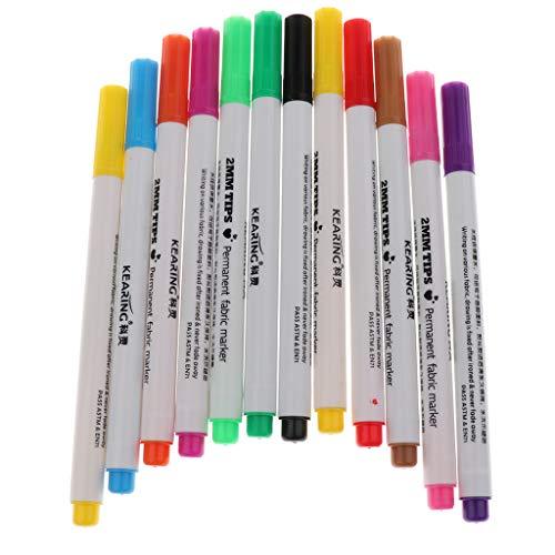 Fityle ファブリックペン マーカー プラスチック 織物標識用 ウォールアート 多色 約12個入り