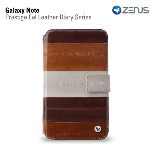 Zenus SAGXN-PE5DY-ASBW EEL Skin Leather Diary for Galaxy Note 1 - Retail Packaging - Multi Brown (Eel Cell Phone Case Skin)