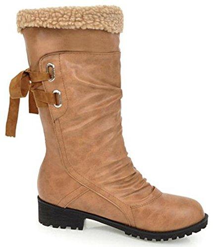 Idifu Womens Vintage Slouchy Lage Stevige Hielen Pull Op Mid-kalf Laarzen Rijden Booties Geel