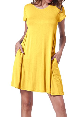 Yellow Tunic Dress (Msllen Womens Plain Round Neck Pockets Loose Swing Casual Party Dress Yellow L)