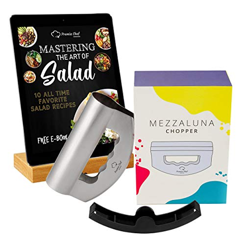 PremiaChef Salad Chopper - Complete Bundle - Stainless Steel Mezzaluna Knife with Double Blade Protective Cover and Storage Box - Multipurpose Premium Salad Chopper