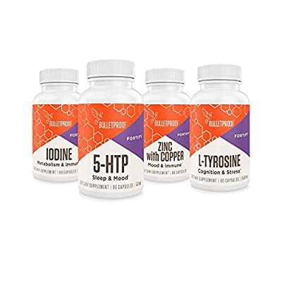 Bulletproof Coffee Mood Boost - Iodine, 5-HTP, Zinc with Copper, L-Tyrosine + Weekly Pill Reminder Small by Bulletproof
