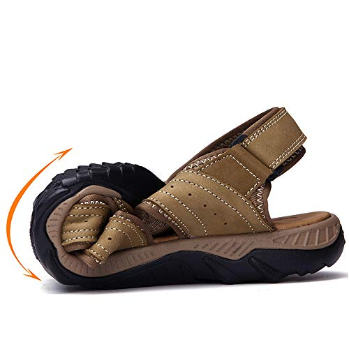 in sandali Khaki uomo ciabattine regolabili estive da traspiranti sandali traspiranti pelle Sandali wP6CqEZq