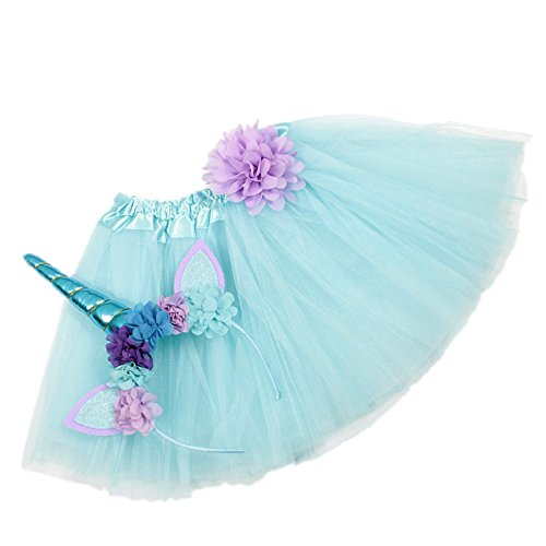 Nishine Tutu Skirt Dress + Unicorn Horn Headband Set Kids Birthday Photo Props Outfit (Light Blue) ()