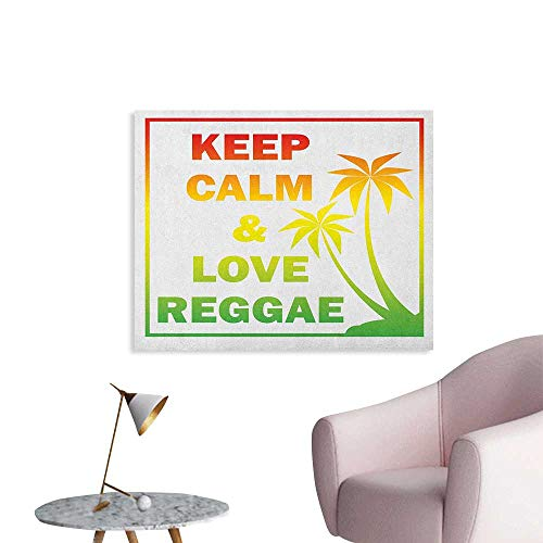 Anzhutwelve Rasta Photographic Wallpaper Keep Calm and Love Reggae Quote in Ombre Rainbow Colors Music Themed The Office Poster Pale Green Red and Yellow W28 xL20