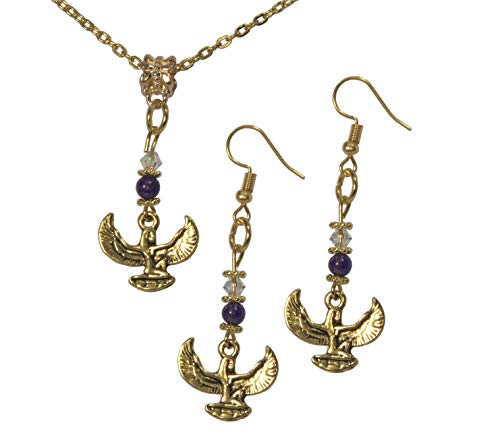 (ViciBeads Set, Egyptian Isis Gold Colored Pendant with Amethyst Gemstone and Austrian Crystal+ Earrings+Free Chain Bag)