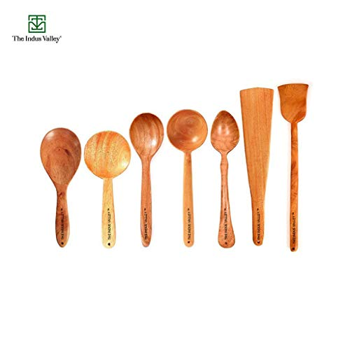 The Indus Valley Wooden Spatulas for Cooking & Serving [ Brown, Neem Wood ] – Set of 7 Price & Reviews