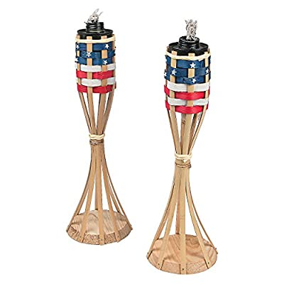 Fun Express Bamboo Patriotic Tabletop Tiki Torches - 2 pieces