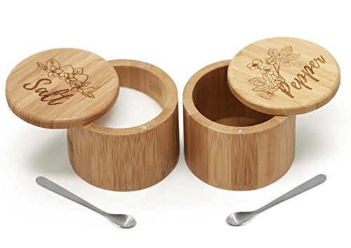 (Salt & Pepper Bamboo Box Set with Salt Spoons)