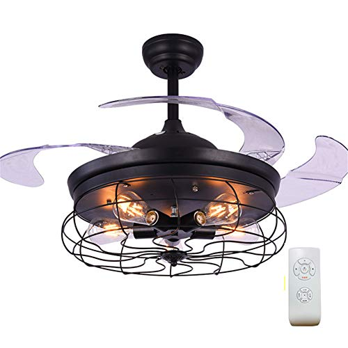 (AIMCAE Chandelier with Fan 42 Inches Remote Control Invisible Telescopic Mute Ceiling Fan Light Retro Industrial Style E27 Light)