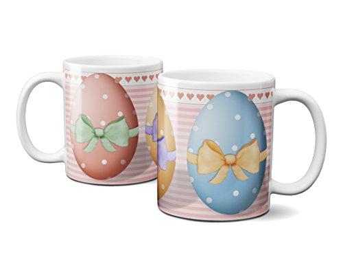 Coffee Mug 1 Easter Egg - Hearts and Ribbon Bows 11 oz. White Ceramic