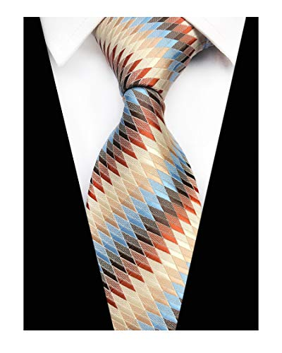 (Men's Novelty Silk Self Cravat Ties Fun Geometric Youth Beautiful Dress Necktie)