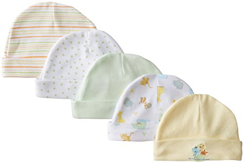 Spasilk Unisex-Baby Newborn 5 Pack Cotton Hats, Yellow Ark, 0-6 Months