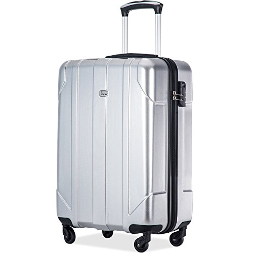 Material Pet (Merax P.E.T Luggage Light Weight Spinner Suitcase 20inch 24inch and 28 inch Available (20-Carry On, Silver))