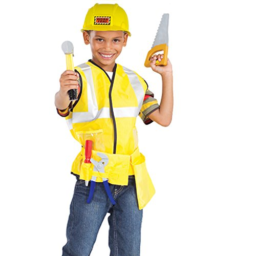 Construction Worker Role Play Dress-Up-Set Costume With Construction Toy Hard Hat and 5 Handyman - Up Maleficent Dress