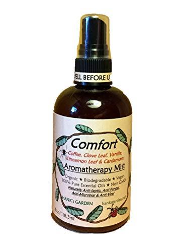 Hank's Garden Comfort Aromatherapy Body Room Mist Spray - Coffee, Clove Leaf, Vanilla,Cinnamon Leaf & Cardamom-Organic,Biodegradable,Vegan,100% Pure Essential Oils,Non GMO (2 oz) (Clove Aromatherapy)