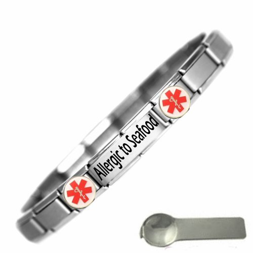 JSC Jewellery Allergic To Seafood Medical Alert Nomination Style Stainless Steel Bracelet