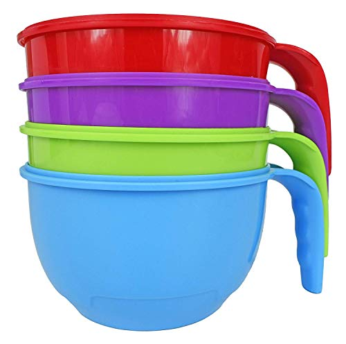 (Set of 4 Soup Mugs 28 Ounce Heat Soup In the Microwave and Take it on the Go! Perfect for Work School and Meal Preparation! By Black Duck Brand (4, Multi))