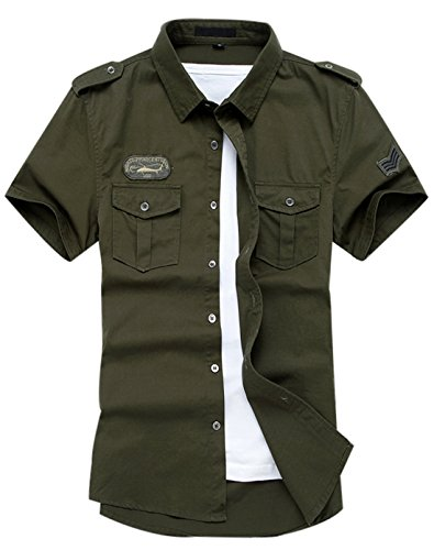 Gihuo Men's Casual Short Sleeve Military Style Button Down Cargo Shirt with Shoulder Straps (X-Large, Army Green) (Double Cargo Pocket Shirt)