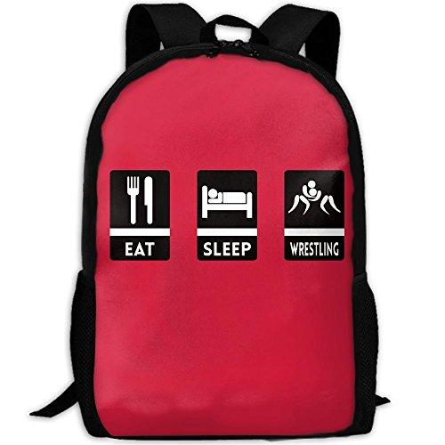 Eat Sleep Wrestling Interest Print Custom Unique Casual Backpack School Bag Travel Daypack Gift by CYMO