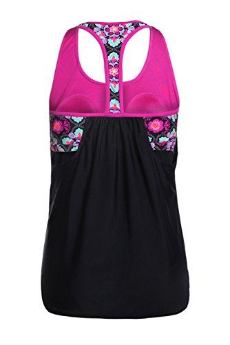 Women's Blouson Floral T-Back Push up Tankini Top Halter Padded Slimming Swimsuit Sporty Swimwear Black L 12 14 by Dearlove (Image #5)