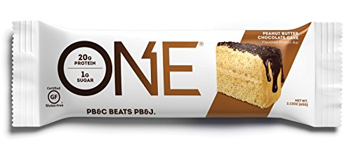 ONE Protein Bar, Peanut Butter Chocolate Cake, 2.12 oz. (12 Pack), Gluten-Free Protein Bar with High Protein (20g) and Low Sugar (1g), Guilt Free Snacking for Healthy Diets
