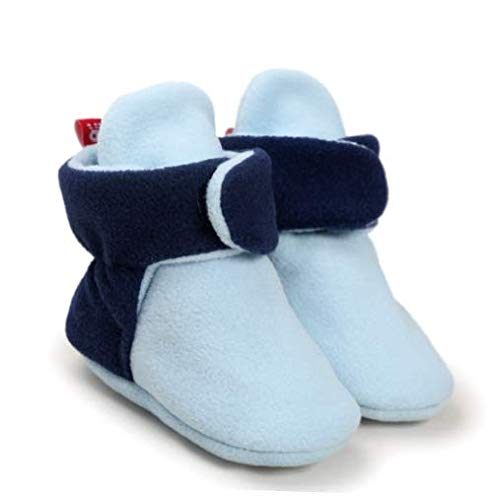 Shoes Navy Blue fit to 12-18 Months Baby Fleece Booties Newborn Infant Toddler Slippers Warm Boots Anti Slip Bottom