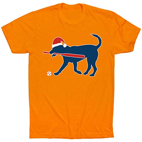 - ChalkTalkSPORTS Play Ball Christmas Dog T-Shirt | Baseball Tees Orange | Adult X-Large