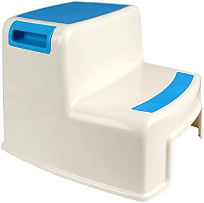 Yier Baño de baño de plástico 2 taburete escalera para taburete de cocina niños 2 pasos para aseo, blanco: Amazon.es: Bebé