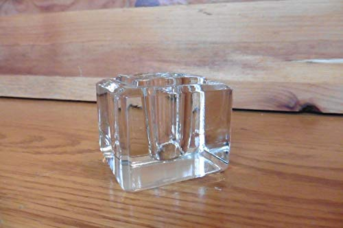 Candle Holder Vintage Glass crystal ice cube shape ? ink well antique