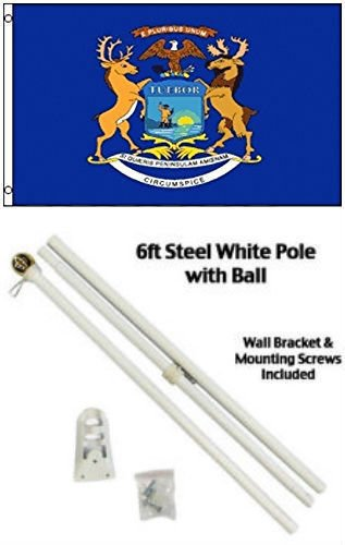ALBATROS 3 ft x 5 ft State of Michigan Flag White with Pole Kit Gold Ball Top for Home and Parades, Official Party, All Weather Indoors Outdoors]()