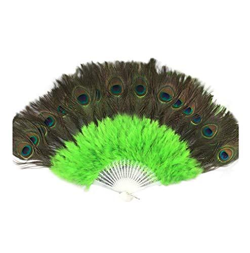 Holzkary Chinese Style Vintage Folding Hand Held Fan/Paper Fan/Feather Fan/Sandalwood Fan/Bamboo Fans for Wedding, Party, Dancing(37cm.Green)