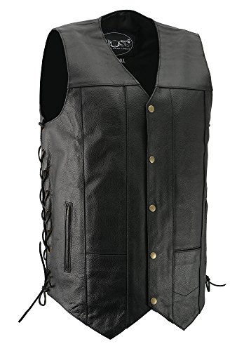 Basic Leather Motorcycle Vest - M-BOSS MOTORCYCLE APPAREL-BOS13518T-BLACK-Men's tall size basic concealed carry biker leather vest.-BLACK-5XL-TALL