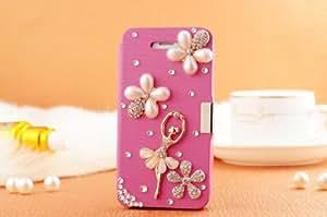 Handmade Luxury 3D Flower Ballet Girl Crystal Peach Leather Flip Case Cover For Sony Xperia Z 240D