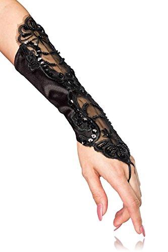 Kurze Hand Stulpen aus Spitze mit kleinen Perlen Schwarz