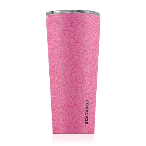 Corkcicle Tumbler-Heathered Collection-Triple Insulated Stainless Steel Travel Mug, 24 oz, Heathered Pink