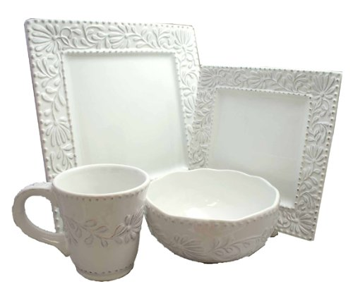 Christmas Tablescape Décor - White square Bianca Leaf earthenware 16-Pc dinnerware set - Service for 4 by American Atelier
